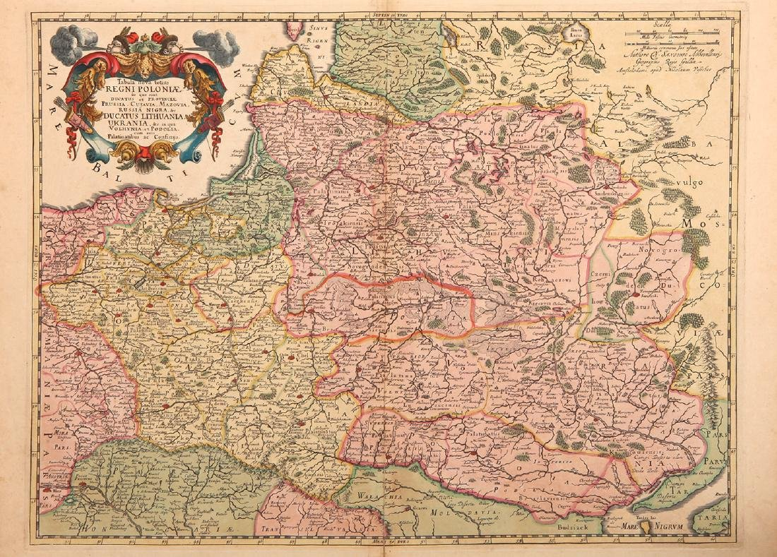 A Late 17th Century Map of Poland, Prussia, Lithuania