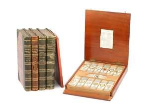 Set of Cole Microscope Slides & Books,