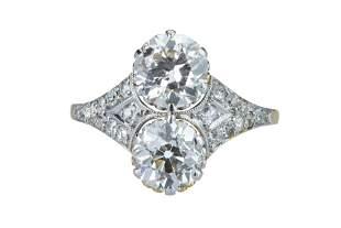 An elegant Art Deco two stone diamond ring.