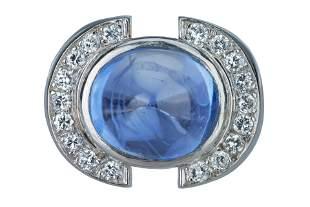 A French Art Deco cabochon sapphire and diamond