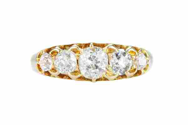 A Victorian 18 carat gold and diamond five stone ring.