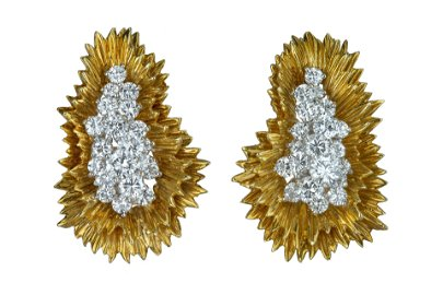 A spectacular pair of yellow gold and diamond ear