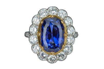A magnificent sapphire and diamond cluster ring
