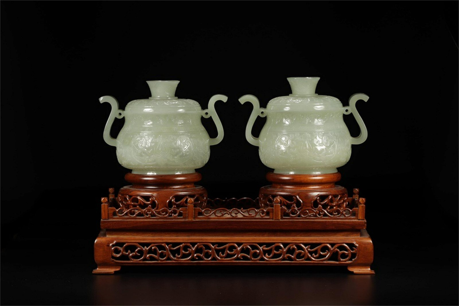 A Pair of Chinese Carved Jade Incense Burners