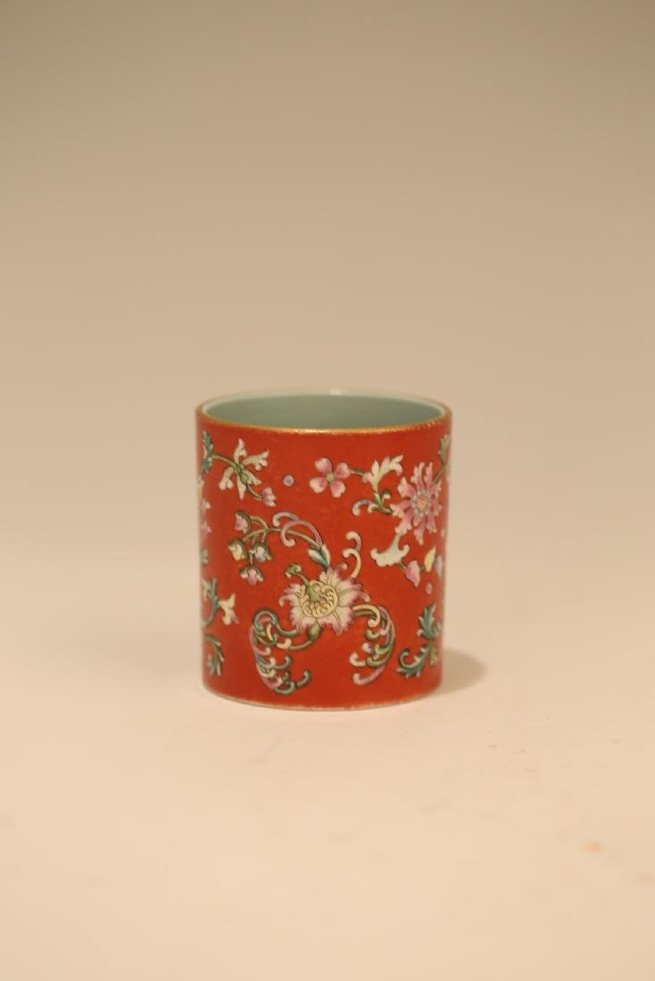A Chinese Red Glazed Famille-Rose Porcelain Brush Pot