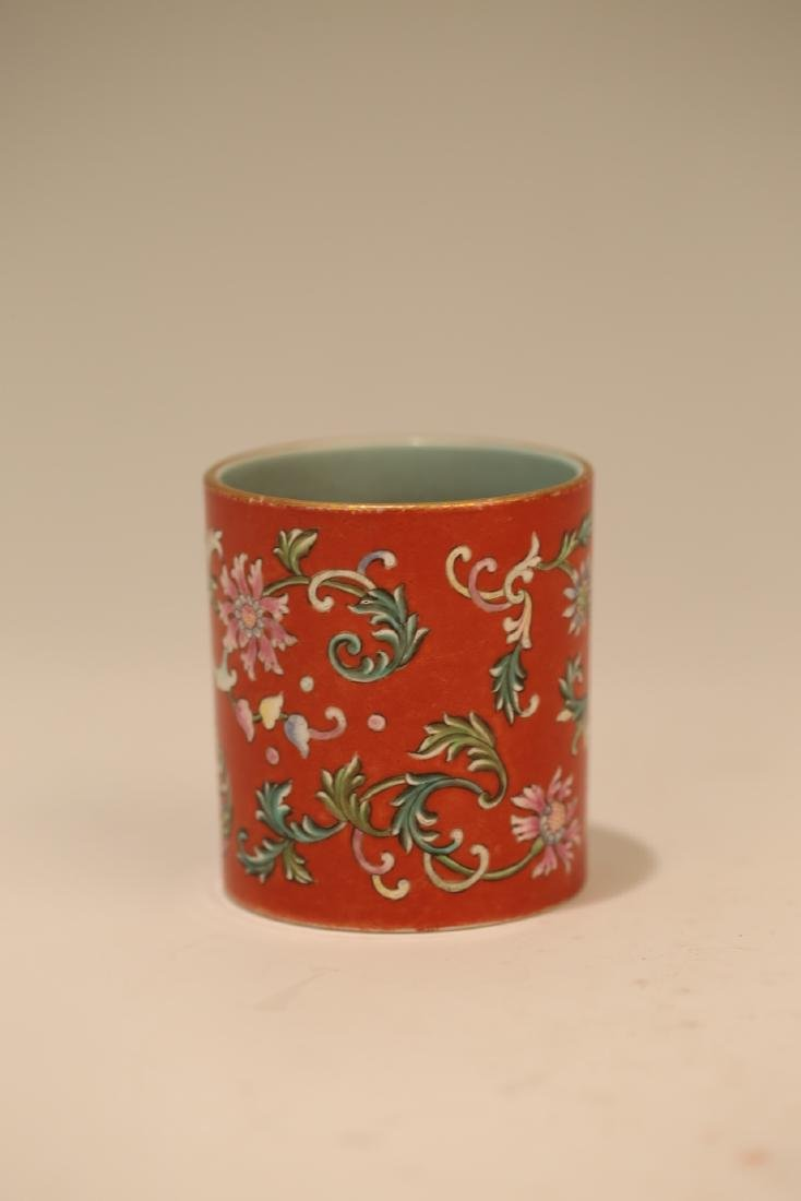 A Chinese Red Glazed Famille-Rose Porcelain Brush Pot - 2