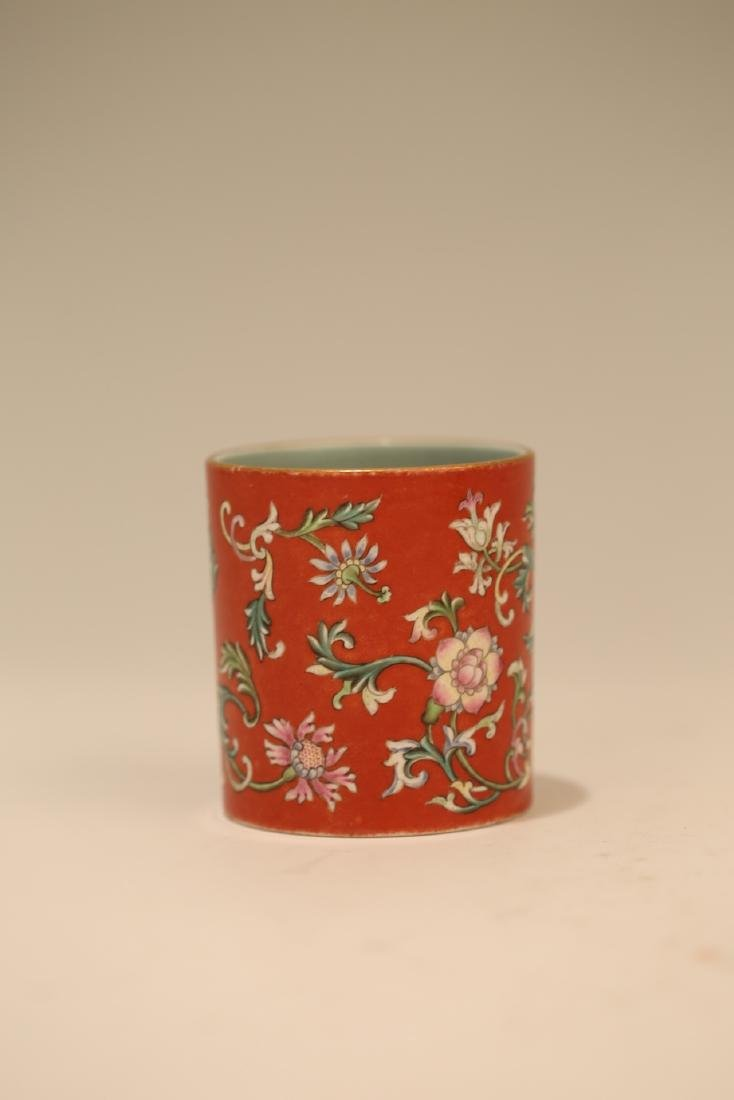 A Chinese Red Glazed Famille-Rose Porcelain Brush Pot - 3
