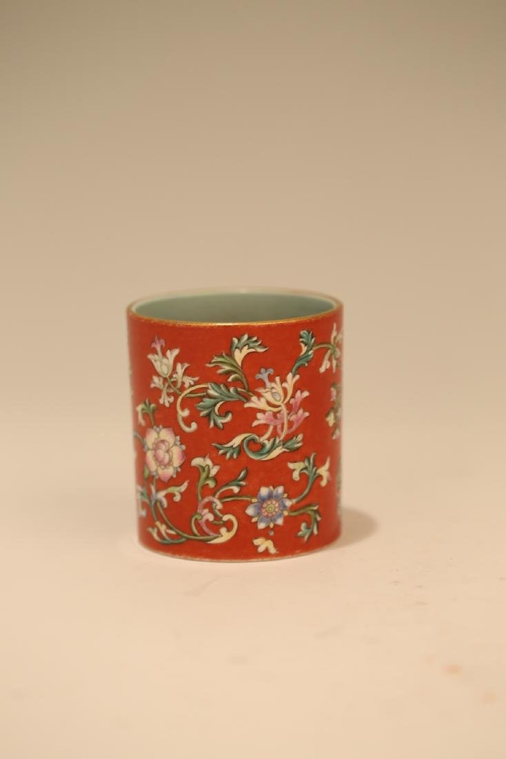 A Chinese Red Glazed Famille-Rose Porcelain Brush Pot - 4