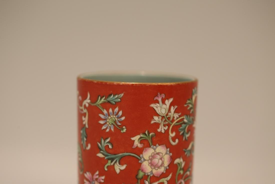 A Chinese Red Glazed Famille-Rose Porcelain Brush Pot - 5