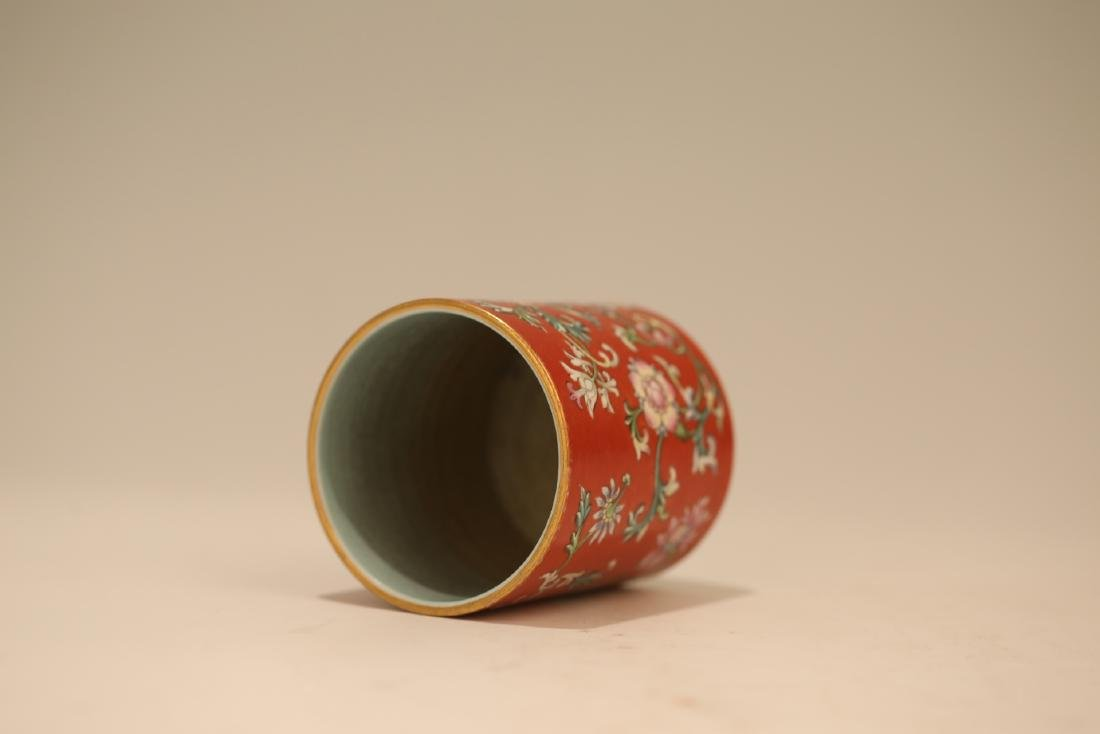 A Chinese Red Glazed Famille-Rose Porcelain Brush Pot - 6