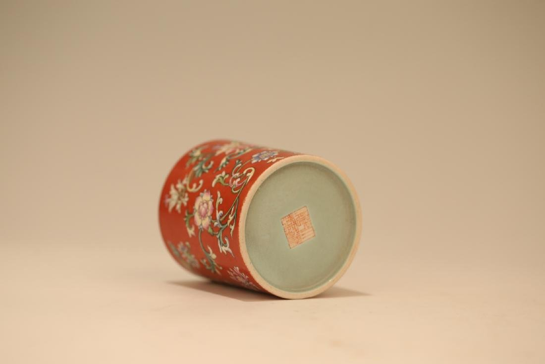 A Chinese Red Glazed Famille-Rose Porcelain Brush Pot - 7