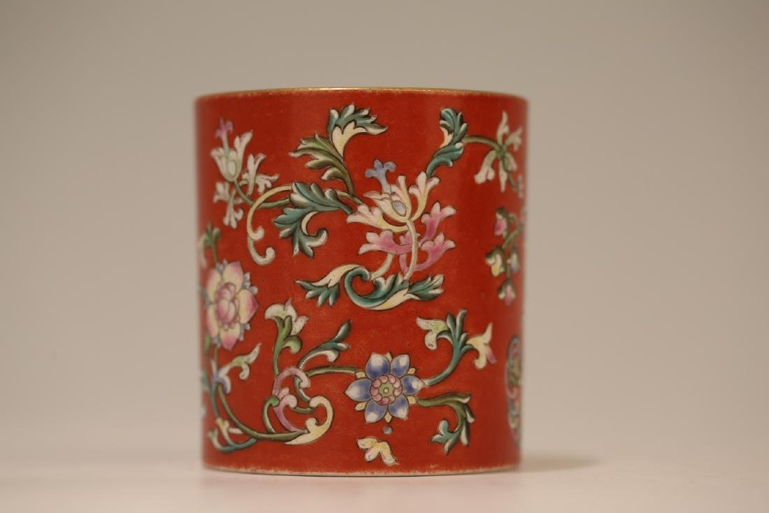A Chinese Red Glazed Famille-Rose Porcelain Brush Pot - 8