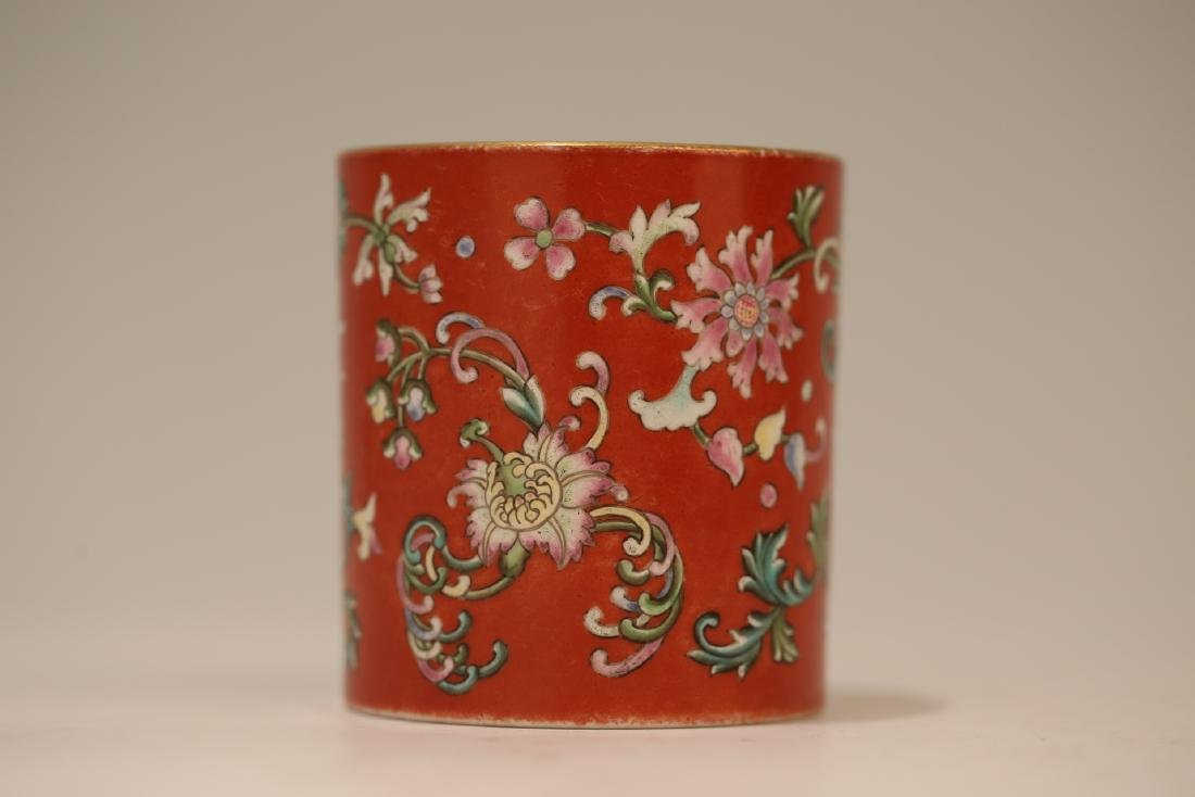 A Chinese Red Glazed Famille-Rose Porcelain Brush Pot - 9
