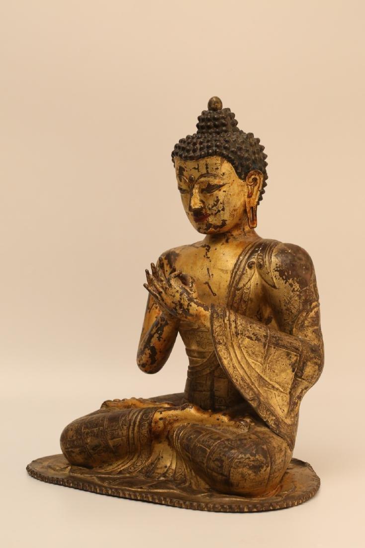 A Chinese Gilt Bronze Buddha - 2