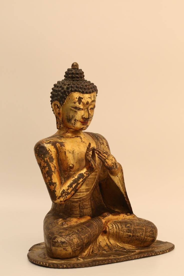 A Chinese Gilt Bronze Buddha - 3