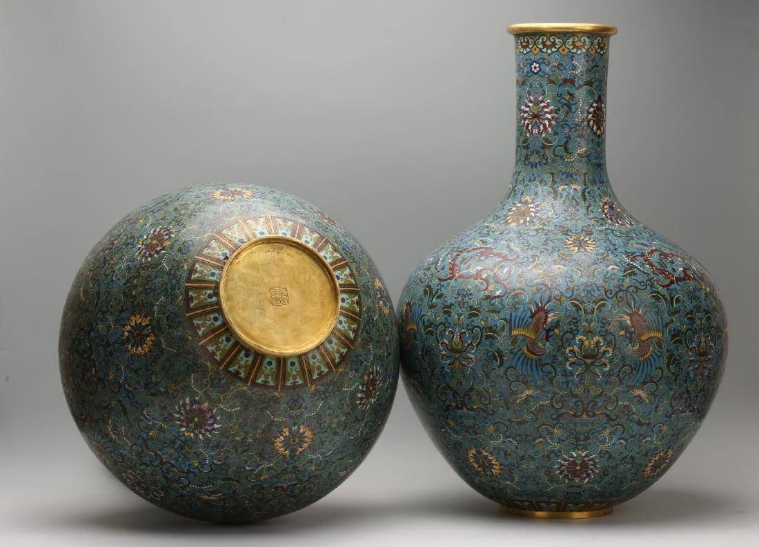 A Pair of Chinese Cloisonne Vases - 9