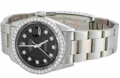 Mens Rolex DateJust Diamond Watch