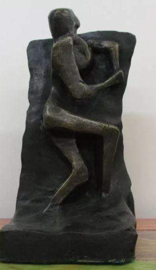 Rustic Bronze Sculpture by Henry Moore