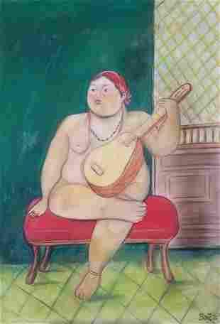 Fernando Botero Woman Nude With Guitar