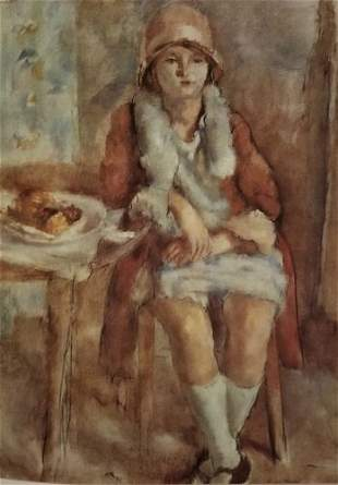 Jules Pascin Young Woman in A Caf
