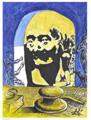 Salvador Dali After Bust Voltaire Litho