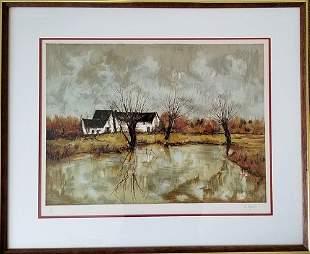 E Peyrol After Barn Near The Pond