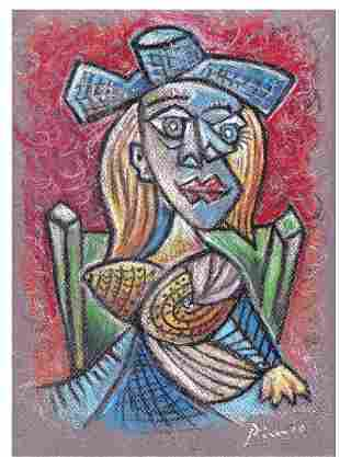 """Pablo Picasso """"After"""" """"Seated Woman"""" Litho"""