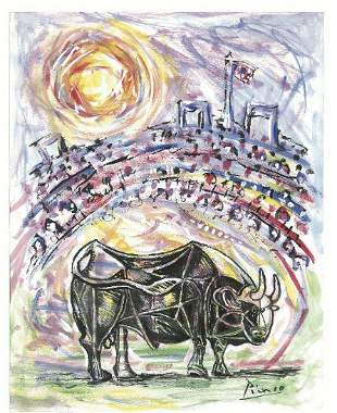 """Pablo Picasso""""After""""  """"Bull in Arena"""" Litho"""