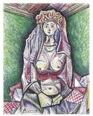 """Pablo Picasso Signed/Hand-Numberd Ltd Ed """"Woman Algiers"""