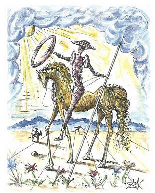 """Dali Signed/Hand-Numbered Ltd Ed """"Don Quixote"""" Litho"""