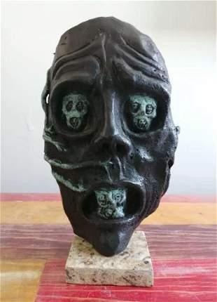 Bronze Sculpture Face By Salvador Dali