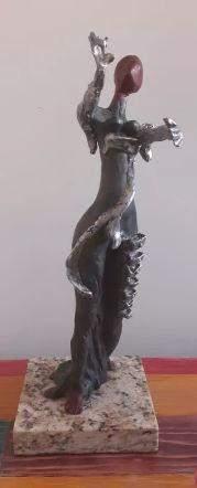 Bronze And Aluminum Sculpture Lady By Salvador Dali