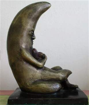 Bronze Sculpture Moon With Heart By Sergio Bustamante