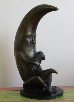 Bronze Moon Sculpture With Baby By Sergio Bustamante