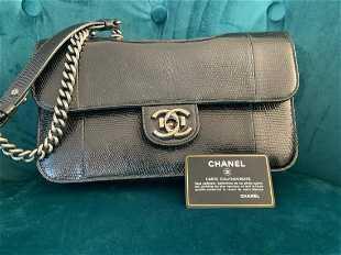 f94409664657 Chanel black lizard skin medium perfect edge flap bag