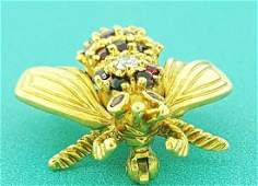 Tiffany & Co. Ruby Diamond Gold Bee Pin Brooch