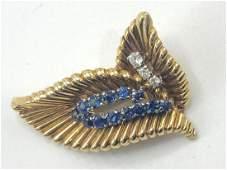 Vintage Van Cleef & Arpels Gold Leaf Pin Brooch