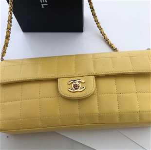 c580c190dd23 Chanel Lambskin Chocolate Bar East West Flap Bag