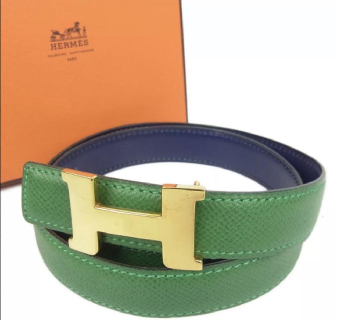 Hermes Gold H Belt Buckle & Reversible Leather Strap