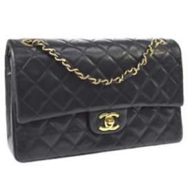 CHANEL CC Double Flap Chain Shoulder Bag Black Leather