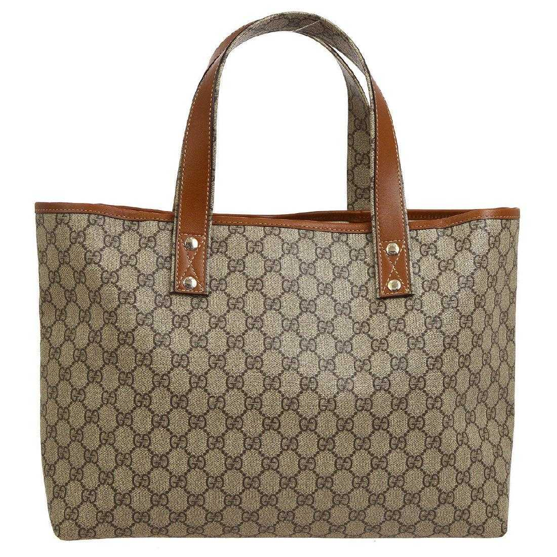 e2424791c63197 Vintage Gucci GG Tote Bag: Brown