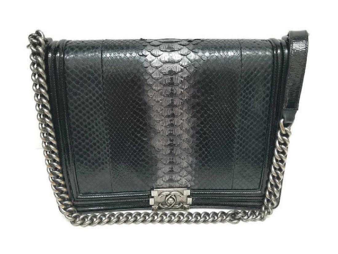 Chanel Python Black Flap Boy Bag Medium Silver Hardware