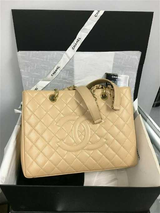b5a2f985bdab CHANEL Large Shopping Bag Quilted Beige Caviar Leather