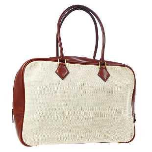 034bea7812 Vintage HERMES PLUME Toile H Veau Barenia Hand Bag