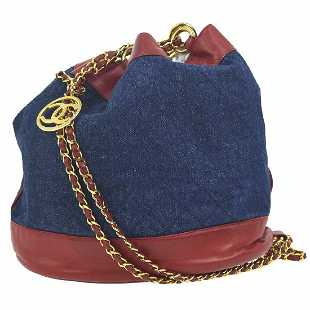 fc657ae50ca3 Vintage Chanel Quilted CC Drawstring Chain Shoulder Bag