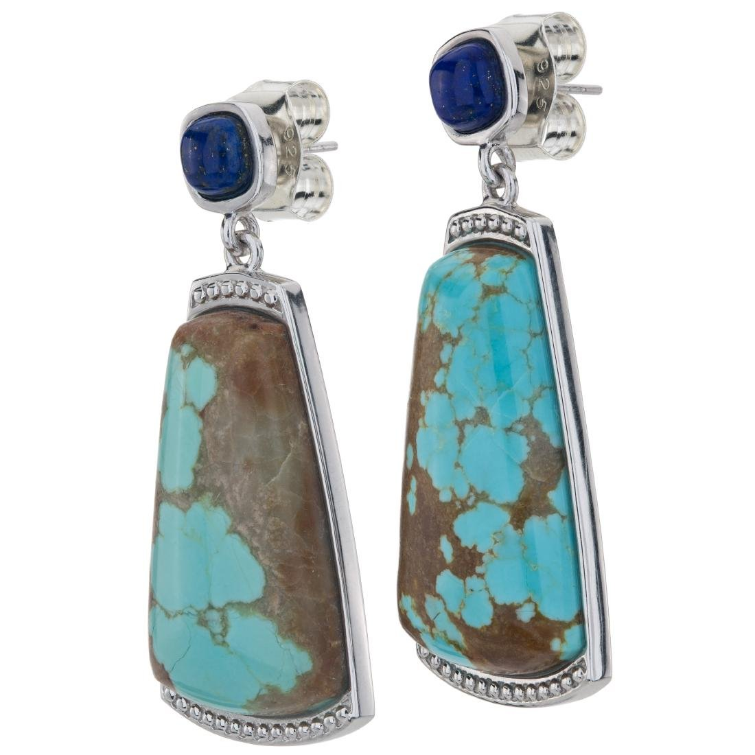 """1.75"""" Turquoise and Lapis Gemstone Textured Earrings"""