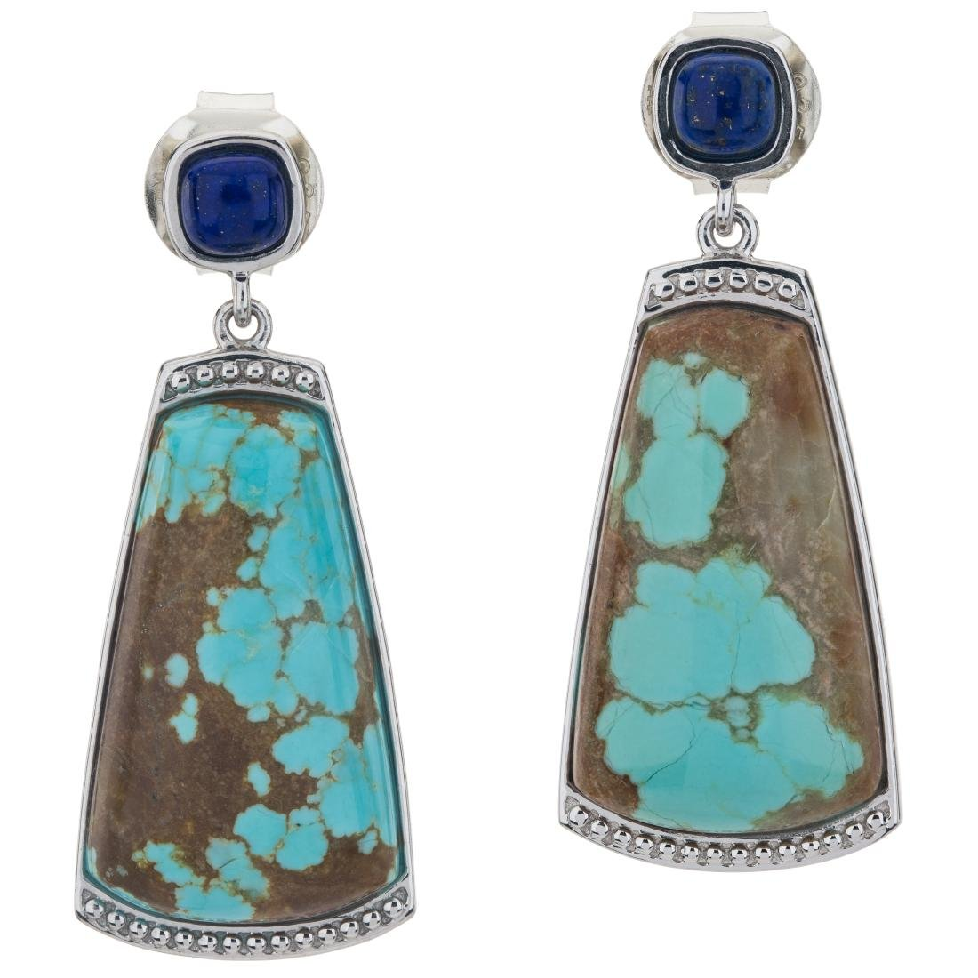 "1.75"" Turquoise and Lapis Gemstone Textured Earrings - 2"