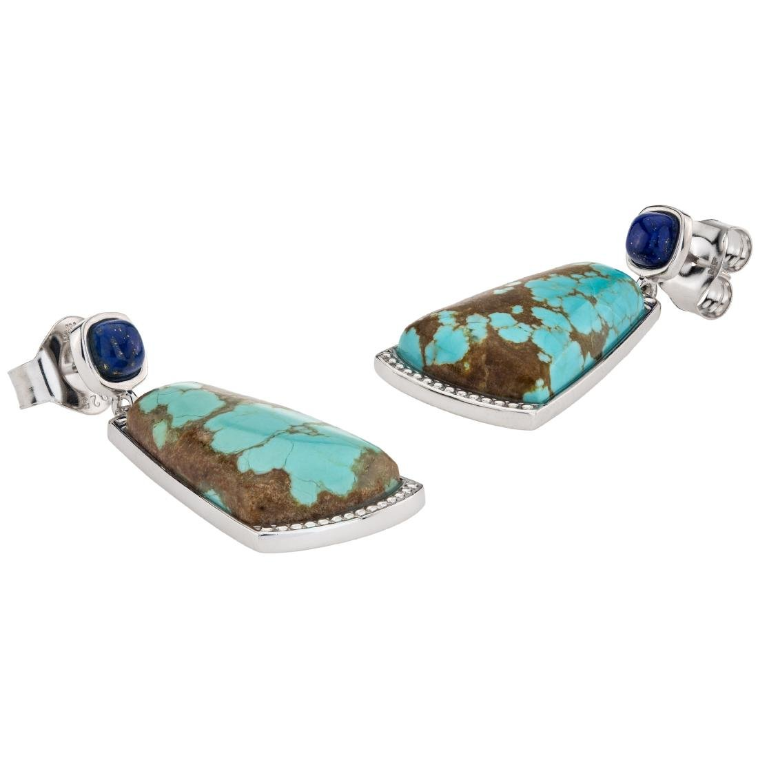 "1.75"" Turquoise and Lapis Gemstone Textured Earrings - 3"