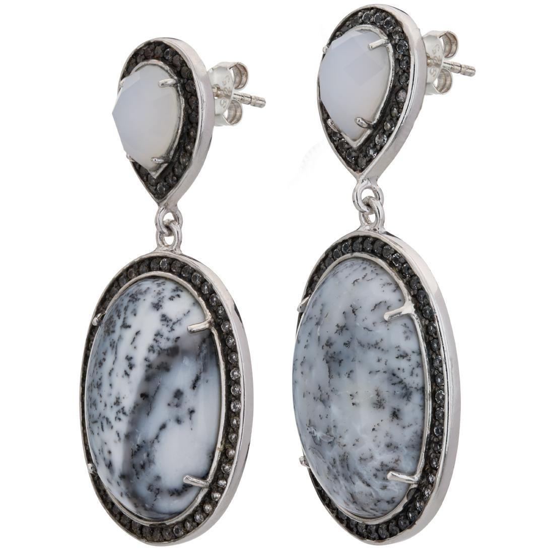 Dendritic Agate White Chalcedony & White Topaz Earrings