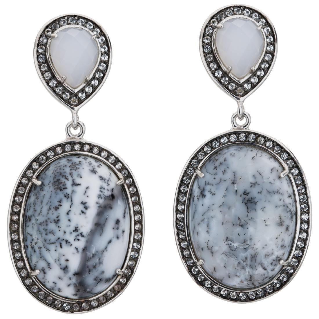 Dendritic Agate White Chalcedony & White Topaz Earrings - 2